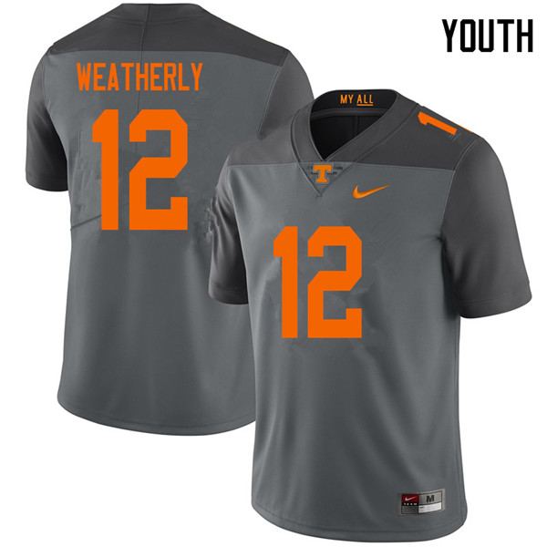Youth #12 Zack Weatherly Tennessee Volunteers College Football Jerseys Sale-Gray